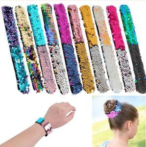 10 couleurs Sequin Wristband Glitter Slap sirène Paillette Femmes Enfant Designer Bracelet Charm Bracelet cheveux corde Bangle