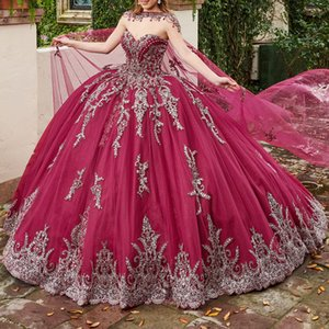 2020 Newest Quinceanera Dresses with Cape Sweetheart Lace Appliques Bead Ball Gown Junior Pageant Dress Corset Back Party Gowns