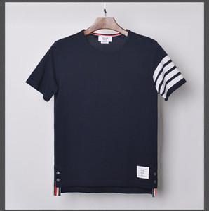 Moda TB THOM Marca T-shirt 2020 das mulheres dos homens de manga curta Casual Sólidos Striped Verão O pescoço de algodão camisas CX200709