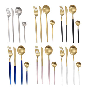 لوحات البرتغال الفولاذ المقاوم للصدأ أدوات المائدة البدلة ستيك سكين شوكة ملعقة عشاء مجموعة ماتي مطبخ عشاء الخدمة كيت أربعة ملاعق 21 6wx B2