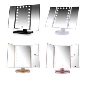 faire de gros miroir réglable LED jusqu'à Trifold trois panneaux avec la lumière miroir LED 22pcs avec lumière LED femmes de bureau beauté Hollywood chaud