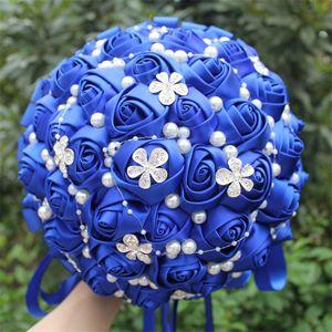 Diamant Royal Blue Brautbrautjunfer Bouquets Künstliche Blumen-Satin-Hochzeits-Blumenstrauß Schöner Stich Bouquet Halter W224A-5