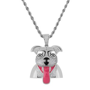 Hip Hop Iced Out Tongue Out Dog Pendant Necklace Pave Bling Clear Cubic Zircon Funny Puppy Charm Rapper Party Necklace