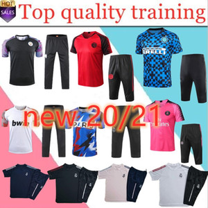 new2020 2021 Real Madrid Mens calcio Breve tuta manica Real Madrid 4/3 pantaloni sportivi Set di calcio set di tuta