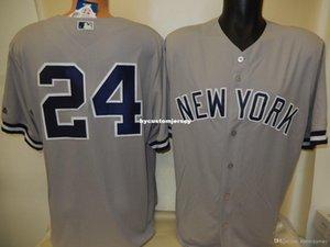 Günstige Brauch in New York GARY SANCHEZ # 24 genähte COOL BASE-Baseball-Shirt GRAY neue Mens genäht Trikots groß und hoch Größe XS-6XL Zum Verkauf
