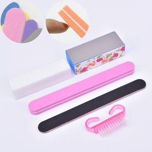 5pcs / Set de limpieza Nail Brush Herramientas del archivo del cuidado del arte de manicura pedicura Esponja arte bloque archivos Pincel de limpieza Buffer