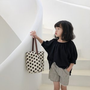 XUAN 2020 filles Summer Doll shirt style coréen mode couleur simple, chemise noire enfants de poupée fraîche solide