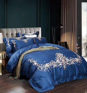 34blue Violet Gray Embroidery 60S Egyptian Cotton Bedding Set Queen King Size Duvet Cover Bed Linen Bed Sheet Pillowcases WjNQ#