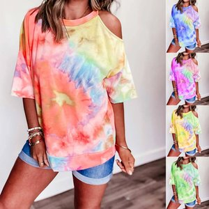 New European and American women's print tie-dyed V-neck short-sleeved T-shirt women's blouse in summer gradient ramp t shit