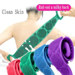 Retour en silicone souple Scrubber luffa Bain Corps Serviette Ceinture Exfoliant Massage du corps Sangle pour douche Nettoyage Salle de bain Douche