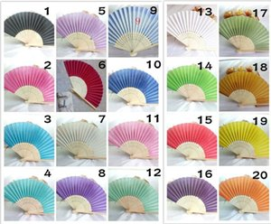 Wedding Fan New Elegant Ivory White Wedding Party Sweet Llight Yellow Silk Hand Fan Hot Candy Color Fashion Mesh Party Bamboo Hand Fans