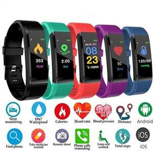 Presión inteligente reloj monitor de ritmo cardíaco ID115plus sangre rastreador de ejercicios SmartWatch reloj del deporte para iOS androide envío libre pulsera inteligente