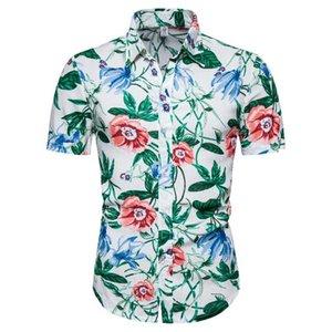 Nueva informal brócoli floral hawaiano hombres camisa de la manera de la serie de manga corta solapa de outoor camisetas cs131