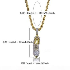 O 3d Sneaker Shoe Bling Bling Gold Hip Hop Pendant Cz Micro Pave 18k Yellow Gold Plated Necklace Cubic Zirconia Pendant Hip Hop Jewelry