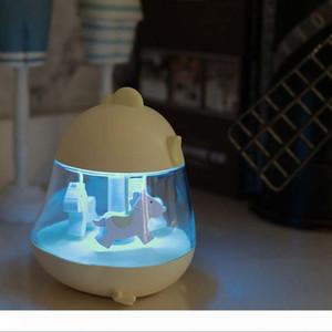 BRELONG Müzik Kutusu Döner Müzik Nemlendirici Gece Işığı Masaüstü Dekorasyon Lambası Çocuk Oyuncak Aydınlatma Beyaz Pembe Mavi