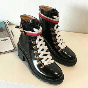 Cuero de la mujer de la estrella Corto Otoño Invierno tobillo Zapatos de diseño de moda mujeres de la marca B24Flo
