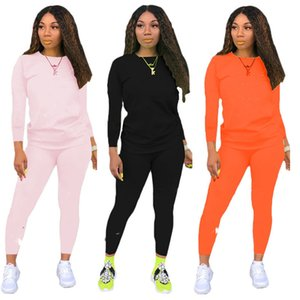 Women designer tracksuit pantsuit outfits 2 piece set jogging sport suit sweatshirt tights sport suit fashion print sportsuit klw4437