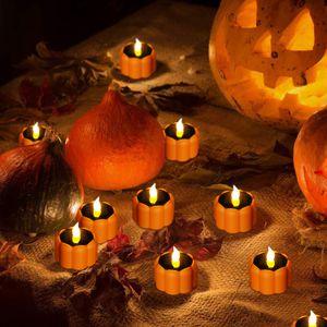 Creative LED Candle Light Pumpkin Lamp Simulation Flame Solar Energy Tea Light Home Wedding Birthday Party Halloween Decor