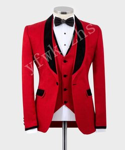Custom-made Shawl Lapel Groomsmen One Button Groom Tuxedos Men Suits Wedding Prom Dinner Best Man Blazer(Jacket+Pants+Tie+Vest) W220