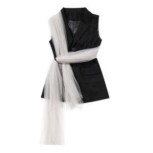 WOMENGAGA 2020 Verão Vest Winding malha Botão Moda Personalidade Temperamento Patchwork Pendulares menina Blusas femininas B237
