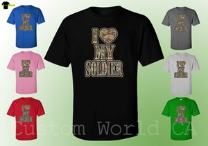 Мужчины T-Shirt - I Love My Soldier Cartoon T Shirt Men Бесплатная доставка Новый Смешной Tshirt Unisex Мода Tops