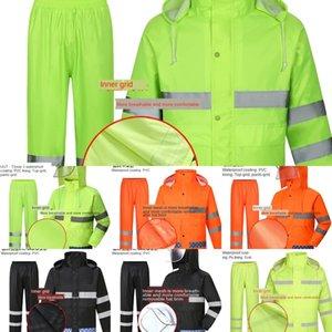 EqPys Duty takım yüksek hızlı bölünmüş floresan emek koruma güvenli sürme yağmurluk giysiler koruyucu iş elbiseleri trafik yansıtıcı iş r