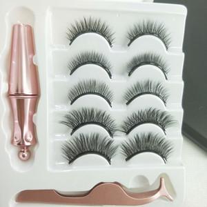 5 Pairs Magnetic Eyelashes and eyeliner set eyelashes+magnetic Eyeliner +Tweezer eye makeup set 3D magnet False eyelashes Natural reusable