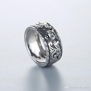 Fashion Thai silver personality sterling silver double tiger head ring male index finger elegant noble temperament ring