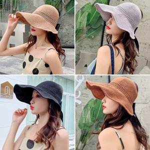 Large eaves woven straw Straw sunscreen female foldable summer beach hipster holiday sun hat sunscreen hat all-match