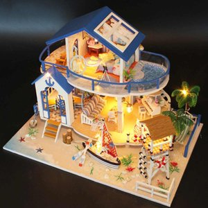 LED Dollhouse Sea Miniature Villa With Furniture DIY Wooden House Room Model Kits Gifts Toy For Kids Birthday Gift MX200414