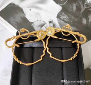 Hot new popular logo style earrings retro brass 925 silver needle allergy proof high-end earrings