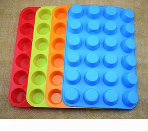 DIY silicone cupcake mold 24 cups creative cake mould non-stick 4 colors cupcake modeling tools W7436