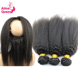 Atina Queen Pre Plucked 360 Lace Frontal with Bundle Afro Kinky Straight Remy Human Hair Weave Bundles 360 Lace Frontal Closure