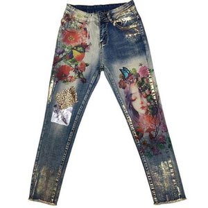 plus size 25-32 2020 spring autumn Pencil Stretchy Jeans With 3D Flowers pattern Painted Elegant Denim Women skinny Jeans