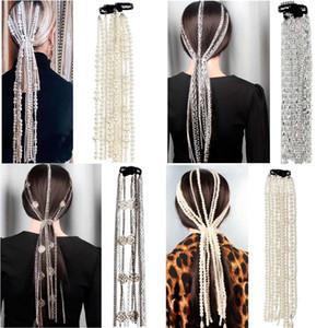 Simulated Pearls Hair Chain Long Tassel Headband Extension Chains Bridal Wedding Hair Accessories Clip Women Party Headwear Hair Wig Jewelry