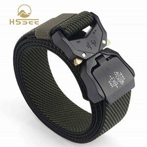 Nylon elastico HSSEE Moda twill di nylon elastico cintura rigida fibbia in metallo di alta qualità cintura Quick Release Buckle Army