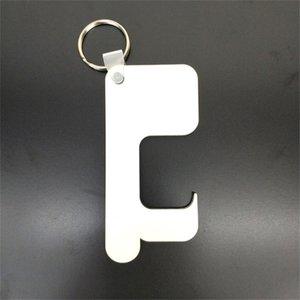 Sans contact de porte Sublimation Keychain MDF transfert thermique Porte-clés de transfert de chaleur d'impression vierges clés blanc Anneaux A02