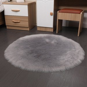 Lana artificiale spessa rotonda tappeto del salotto camera da letto Bedside solido di colore morbido Fluff Tappetino Tavolino Divano per la casa Tappeti Resident lDsE #