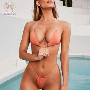 Peachtan сексуального треугольника бикини набор 2020 плиссе купальников женщин Прозрачный ремень купальник женский Твердый высокий вырез купальный костюм новый