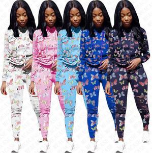 Femmes Survêtements Marque brisé Trou imprimé papillons Survêtement à capuchon Pulls à capuche Pantalons leggings 2 Piece Set Tenues de sport D72704
