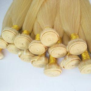 Big Promotion Good Quality Blonde Color 613# Silk Straight Wave Human Hair Bundles 6Pcs Lot Peruvian Virgin Human Hair Weaves Extensions