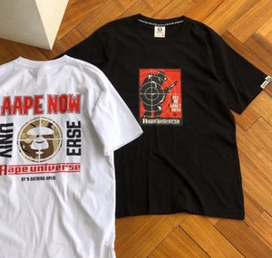 2020 summer European and American tide brand aape ape pattern camouflage ape men and women same color contrast letter printed short-sleeved