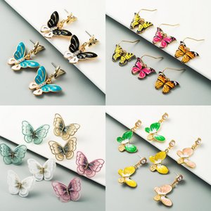 Summer Fashion Animal Sweet Colorful Butterfly Drop Acrylic Insect Earrings Women Lace Boho Dangle Drop Girl Cute Wedding Earring