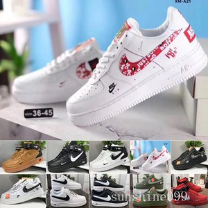 Sale 2019 New Design Forces Men Low Skateboard Shoes Cheap One Unisex 1 Knit Euro Air High Women All White Black Red Sise 36-45 YYC4N