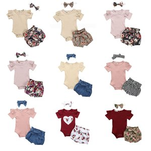 Baby Clothes Girls Solid Rompers+Bowknot headband+Floral Shorts 3pcs set Outfits Kids Jumpsuit Flower Shorts Hairband Suits 13 Styles Z1172