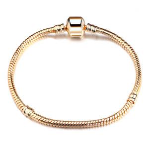 Europäische Perlenkette 3mm Schlangenkette Kupfer KC vergoldet DIY Armband Zubehör Kette Großhandel
