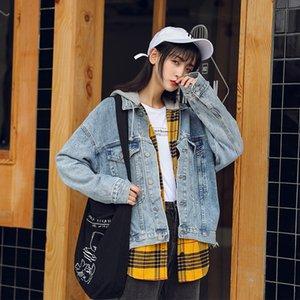 6h0Yz 2020 stile coreano primavera paio bfstyle denim allentato del tutto-fiammifero di grandi dimensioni baseball vestito da baseball fas delle donne vestito short coat pelo corto