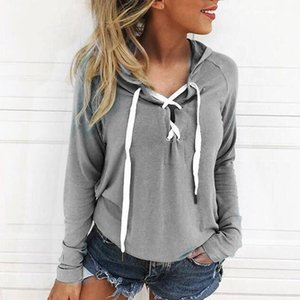 Autumn Sexy Lace-up Pullover Hoodies Women Spring Long Sleeve Solid Female Hooded Pullover Sweatshirt Jumper Ropa Mujer