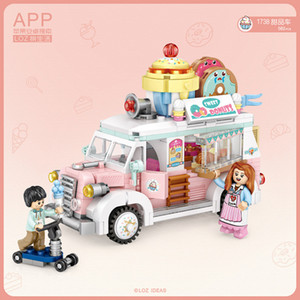 LOZ mini dessert auto, Frutta Triciclo, Building Blocks modello, mini Assemblea giocattolo educativo di DIY, ornamento, Kid Regalo di Natale, 1738 1738, 2-1