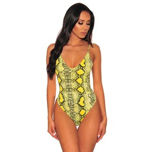 Summer New Tight Sexy Snakeskin Printed Sexy Underwear Jumpsuit Strap Female 32379